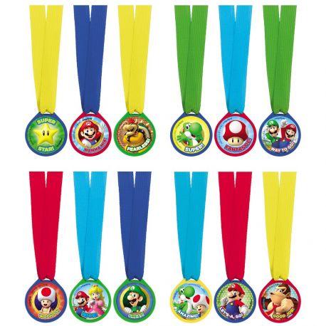 12 médailles en plastique avec cordons Super Mario Bros pour une belle décoration d'anniversaire sur le thème jeux vidéo