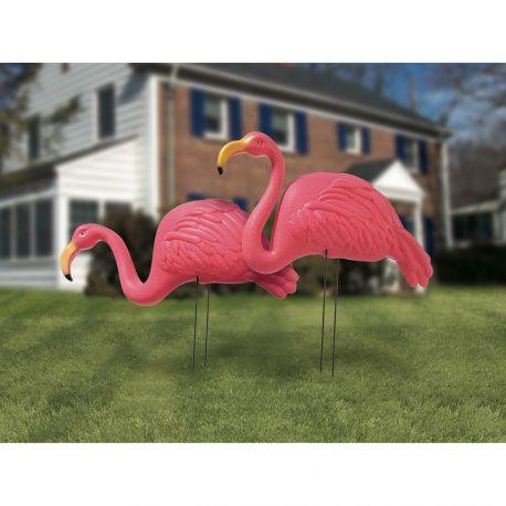 2 Flamand rose en plastique, idéal pour une décoration de fête sur le thème des tropiques, flamingo...Dimensions: 54 x 43cm