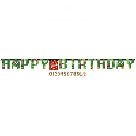 Banderole en carton Happy Birthday personnalisable personnalisable avec la planche de stickers de chiffre livré avec surle thème TNT...