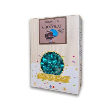 Dragées mini coeur chocolat brillant blue gold 500gr