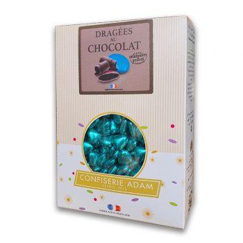 Dragées mini coeur chocolat brillant blue gold 1kg