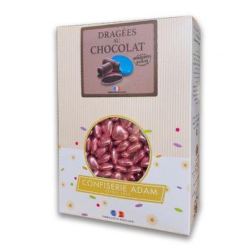 Dragées mini coeur chocolat brillant pink gold 1 kg