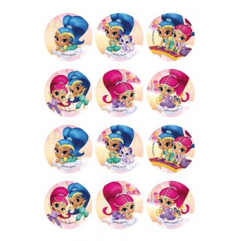 12 mini disque en sucre Shimmer and Shine Ø5.5cm