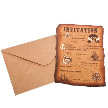 8 cartes invitations carte pirate