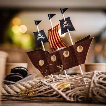 Cake topper bateau pirate 21cm