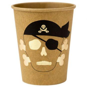 8 gobelets kraft têtes pirate dorure