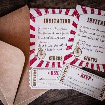 8 Invitations circus vintage avec enveloppes kraft