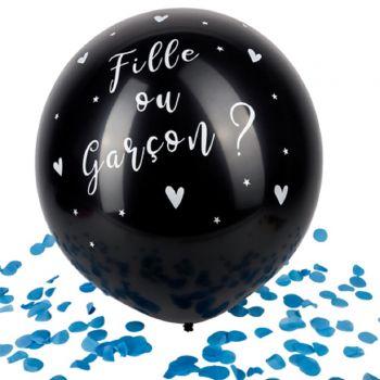 Ballon géant noir fille ou garçon Gender reveal confettis bleu