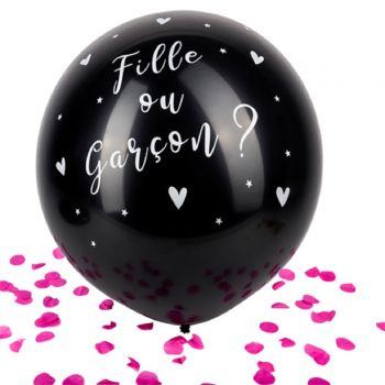 Ballon géant noir fille ou garçon Gender reveal confettis rose