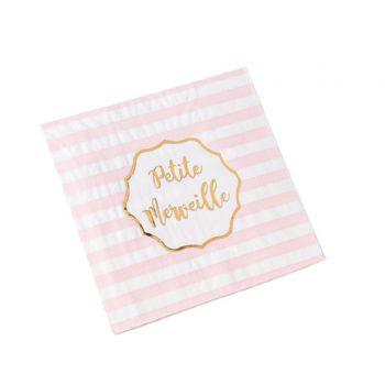 16 serviettes petite merveille rose