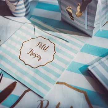 16 serviettes petit trésor bleu