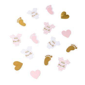 100 Confettis petite merveille rose blanc or