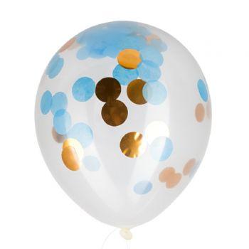 3 Ballons confettis bleu et or