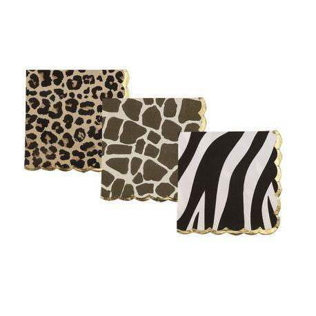 Assortiment de 18 serviettes en papier assortis imprimé léopard, girafe et zèbre avec bordure dorure pour une belle décoration sur...