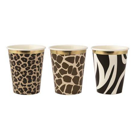 Assortiment de 18 serviettes en papier assortis imprimé léopard, girafe et zèbre avec bordure dorure pour une belle décoration sur le...