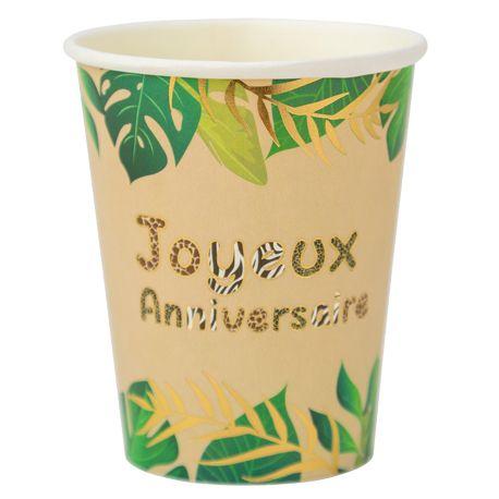 8 gobelets en carton safari Joyeux Anniversaire avec bordure or pour une belle décoration sur le thème de la jungleDimensions : 25cl