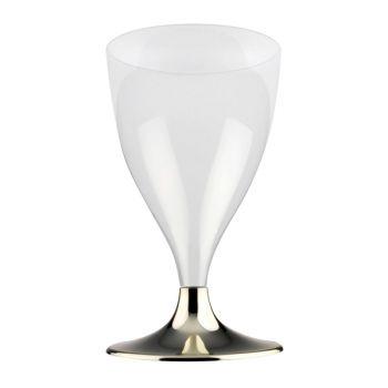 10 verre à vin/eau en plastique pieds or chromé