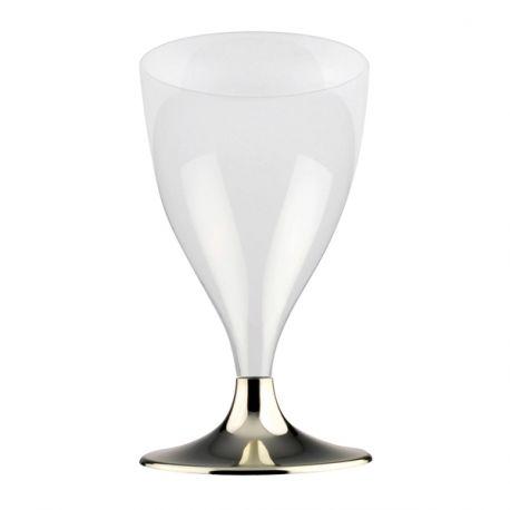 10 verres à vin/eau en plastique avec pieds or chromé20cl