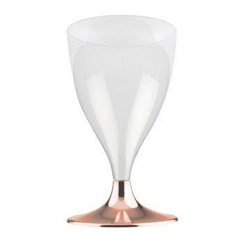 10 verre à vin/eau en plastique pieds gold rosechromé