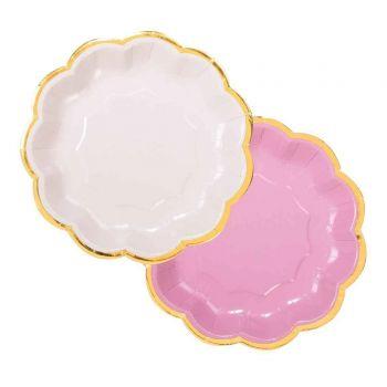 12 Assiettes dessert duo Pink