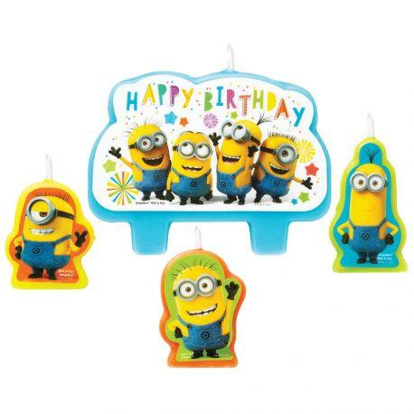 4 Bougies Les Minions pour une belle deco de gâteau d'anniversaire sur le thème jeux vidéoDimensions entre 4.5 et 6 cm