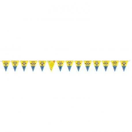 Guirlande de fanions Happy birthday Les Minions pour la deco anniversaire de votre enfant.Dimensions 330cm