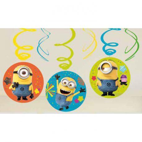 6 Guirlandes spirales Happy birthday Les Minions pour la deco anniversaire de votre enfant.Dimensions longueur 45cm