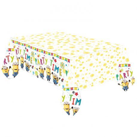 Nappe en papier Les Minions pour la deco de table d'anniversaire de votre enfant.Dimensions : 180 x 120cm