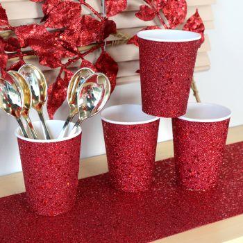 10 gobelets pailleté rouge
