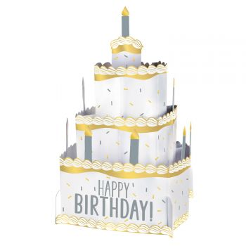 Centre de table gâteau Happy Birthday gold