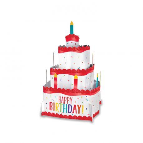 Centre de table 3D en forme de gâteau en carton à monté soi mêmeCouleur multicoloreDimensions: Hauteur 25cm