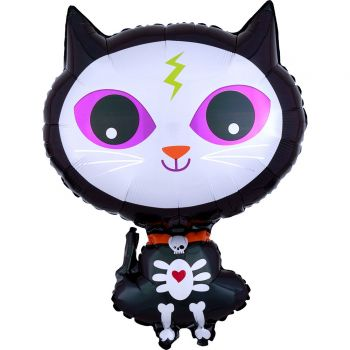 Ballon hélium chat noir squelette