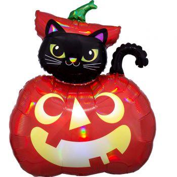 Ballon hélium chat noir citrouille