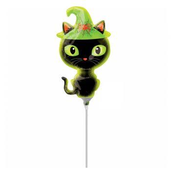 Mini ballon Halloween chat noir gonflé