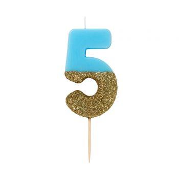 Bougie chiffre bleu glitter gold N°5