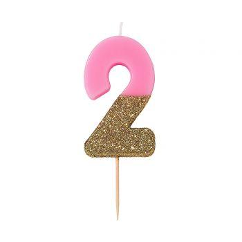 Bougie chiffre rose glitter gold N°2