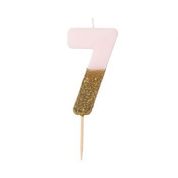 Bougie chiffre rose glitter gold N°7