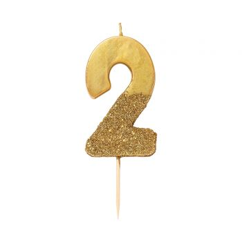 Bougie chiffre glitter gold N°2