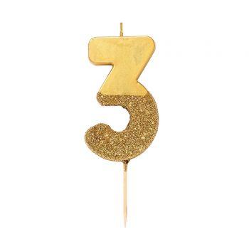 Bougie chiffre glitter gold N°3