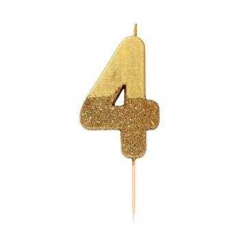 Bougie chiffre glitter gold N°4