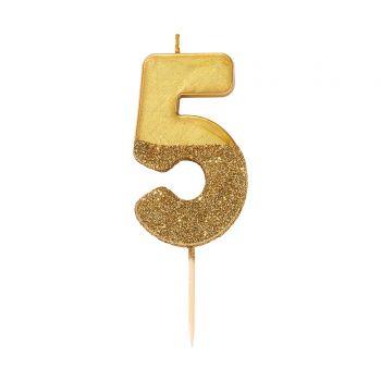 Bougie chiffre glitter gold N°5