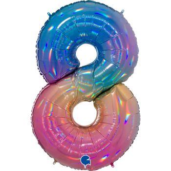 Ballon géant helium chiffre 8 rainbow pastel