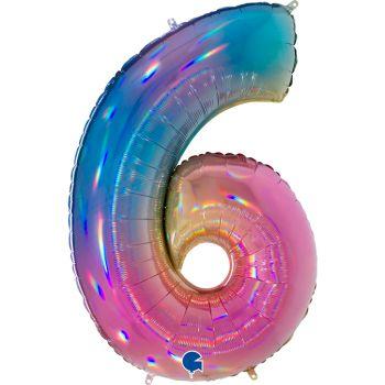 Ballon géant helium chiffre 6 rainbow pastel