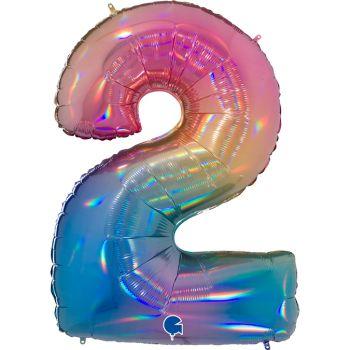 Ballon géant helium chiffre 2 rainbow pastel