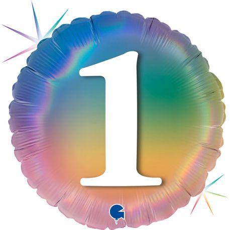 Superbe ballon rond avec inscription chiffre 1 couleur rainbow dégradé pastelBallon en aluminium pouvant être gonflé avec ou sans...