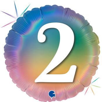 Ballon helium rond chiffre 2 rainbow pastel