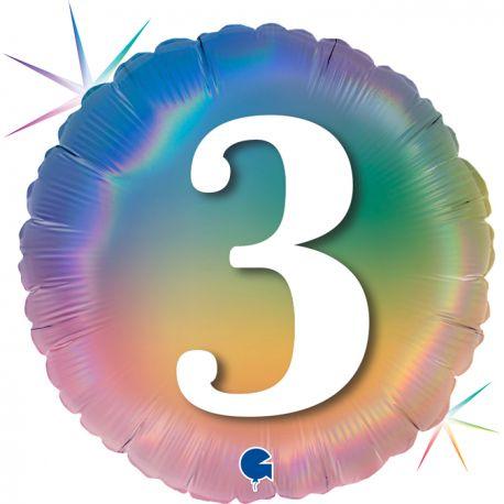 Superbe ballon rond avec inscription chiffre 3 couleur rainbow dégradé pastelBallon en aluminium pouvant être gonflé avec ou sans...
