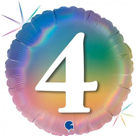 Superbe ballon rond avec inscription chiffre 4 couleur rainbow dégradé pastelBallon en aluminium pouvant être gonflé avec ou sans...