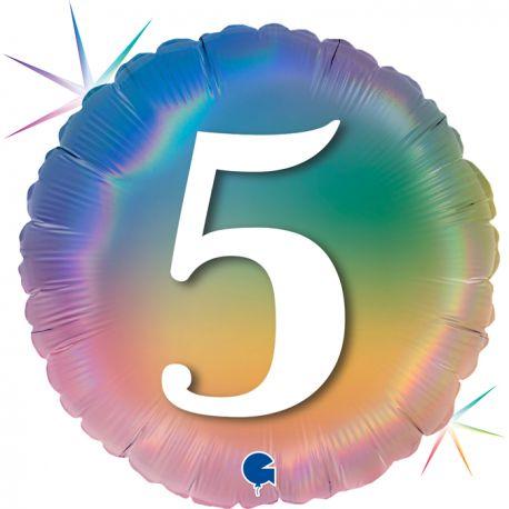 Superbe ballon rond avec inscription chiffre 5 couleur rainbow dégradé pastelBallon en aluminium pouvant être gonflé avec ou sans...