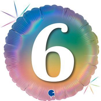 Ballon helium rond chiffre 6 rainbow pastel
